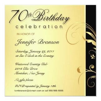 70.o Adulto del cumpleaños - el oro elegante Invitación 13,3 Cm X 13,3cm