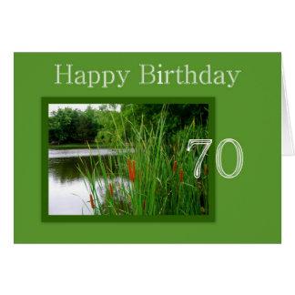 70.o Colas de gato del feliz cumpleaños en la Tarjeta De Felicitación