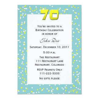 70.o Confeti de la invitación del cumpleaños