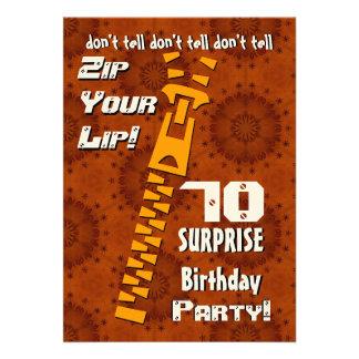 70.o Cremallera del cumpleaños de la sorpresa su o Invitacion Personalizada
