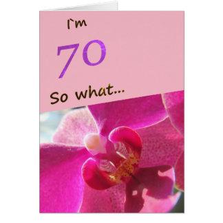 70.o Cumpleaños con la orquídea rosada divertida Tarjeta