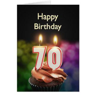 70.o Cumpleaños con la torta y las velas Tarjeta De Felicitación