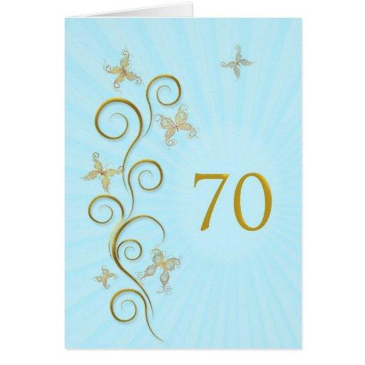 70.o Cumpleaños con las mariposas de oro Tarjetón