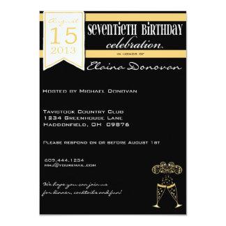 70.o cumpleaños de Champán en oro y blanco Invitación 11,4 X 15,8 Cm