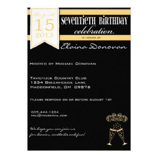 70.o cumpleaños de Champán en oro y blanco Anuncios