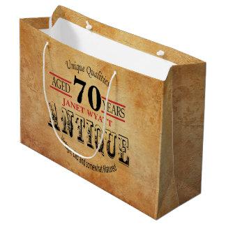 70.o cumpleaños de la antigüedad bolsa de regalo grande