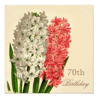 70.o cumpleaños de los jacintos elegantes del invitación 13,3 cm x 13,3cm