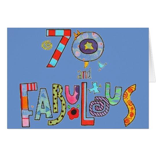 70.o cumpleaños feliz fabuloso en 70 tarjeta de felicitación