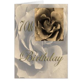 70.o cumpleaños feliz subió sepia tarjeta de felicitación