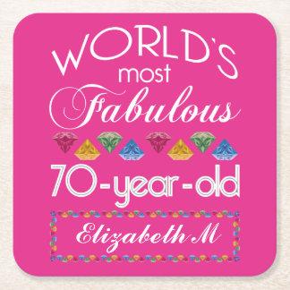 70.o Cumpleaños la mayoría del rosa colorido Posavasos De Papel Cuadrado