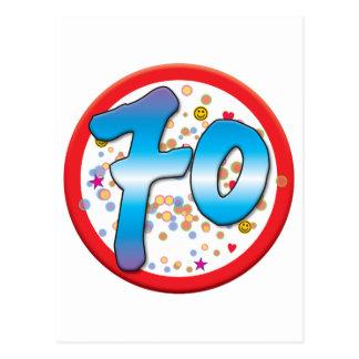 70.o Cumpleaños Tarjeta Postal