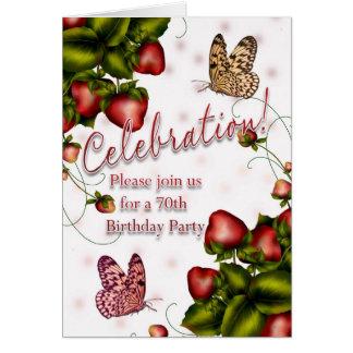70.o Fiesta de cumpleaños - mariposa y fresa Inv Tarjeton