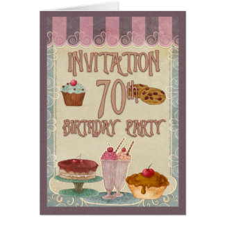 70.o Fiesta de cumpleaños - tortas, galletas, hela Felicitación