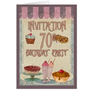70.o Fiesta de cumpleaños - tortas, galletas, Felicitación