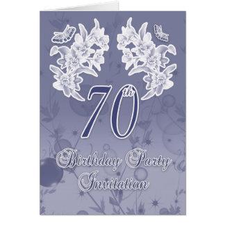 70.o Flo de la invitación de la fiesta de cumpleañ Felicitacion