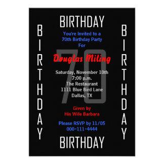 70 o Invitación de la fiesta de cumpleaños - 70