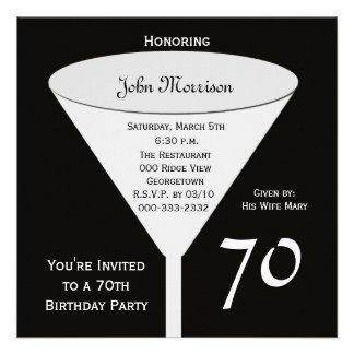 70.o Invitación de la fiesta de cumpleaños -- 70 e