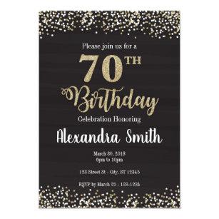70 O Invitación Del Cumpleaños Negro Con