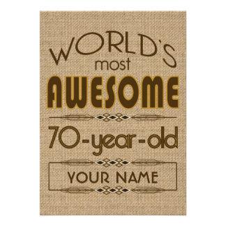 70 o Mundo de la celebración del cumpleaños mejor Invitaciones Personales