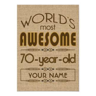 70.o Mundo de la celebración del cumpleaños mejor Invitación 12,7 X 17,8 Cm