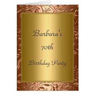 70.o Oro de la invitación de la fiesta de cumpleañ Tarjeta
