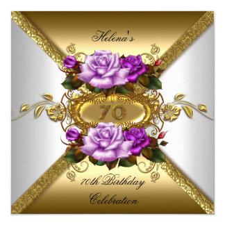 70.o Oro elegante de la púrpura de los rosas de la Invitación 13,3 Cm X 13,3cm