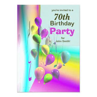 70.o Pared del globo de la fiesta de cumpleaños Invitaciones Personales