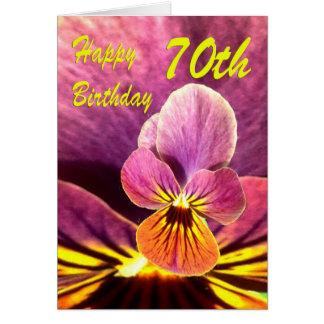 70.o pensamiento feliz de la flor del cumpleaños tarjeta de felicitación