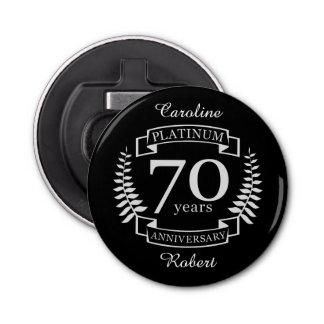70.o PLATINO del ANIVERSARIO de boda Abrebotellas Redondo