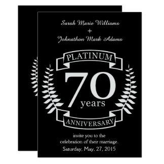 70.o PLATINO del ANIVERSARIO de boda Invitación 12,7 X 17,8 Cm
