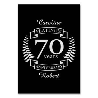 70.o PLATINO del ANIVERSARIO de boda Tarjeta