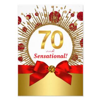 70.o rojo y oro de la fiesta del cumpleaños de la invitación 12,7 x 17,8 cm