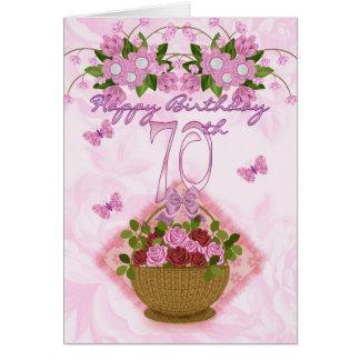 70.o Señora del cumpleaños, rosas y flores Tarjeta De Felicitación
