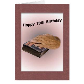 70.o Tarjeta de cumpleaños con las manos y la bibl