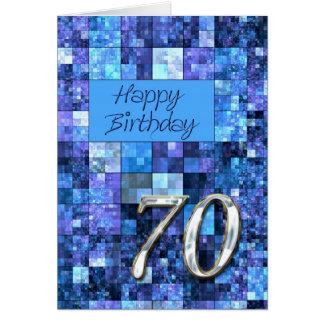 70.o Tarjeta de cumpleaños con los cuadrados abstr