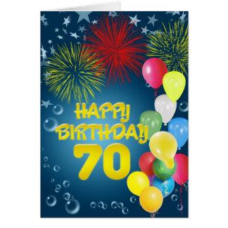 70 o Tarjeta de cumpleaños con los fuegos artifici
