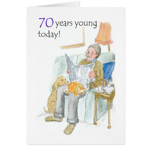 70.o Tarjeta de cumpleaños para un hombre