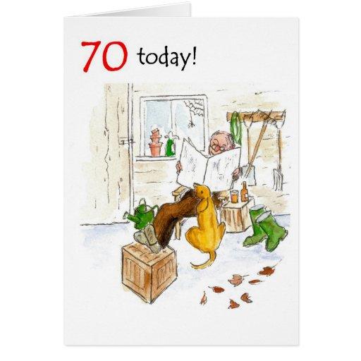 70.o Tarjeta de cumpleaños - relajándose en la ver