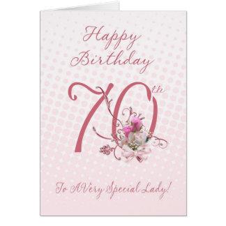 70.o Tarjeta de cumpleaños - rosas rosados - a A m