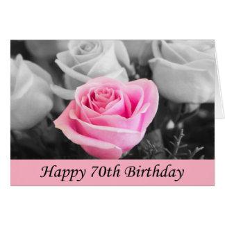 70.o tarjeta subió cumpleaños feliz de la foto
