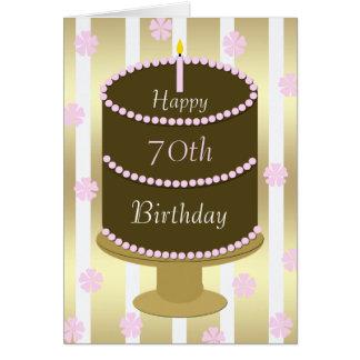 70.o Torta de la tarjeta de cumpleaños en rosa
