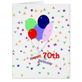 70.os globos coloridos del cumpleaños tarjeta de felicitación grande