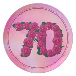 70 placa floral del aniversario 70.o del plato de comida