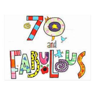 70 y fabuloso - 70.o cumpleaños feliz postal
