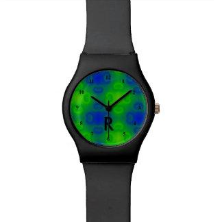 70s verde azul con monograma abstracto enrrollado reloj de pulsera