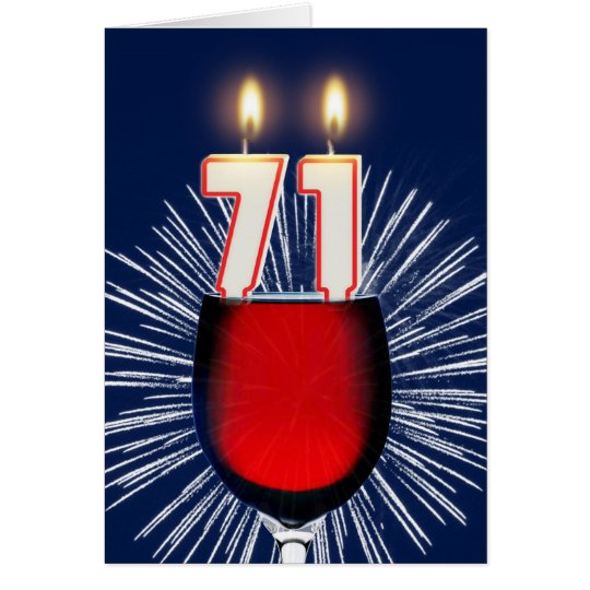 71.o Cumpleaños con el vino y las velas Tarjeta De Felicitación