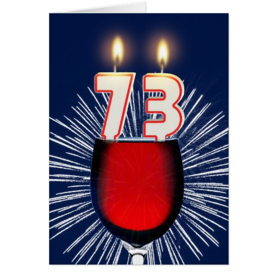 73.o Cumpleaños con el vino y las velas Tarjeta