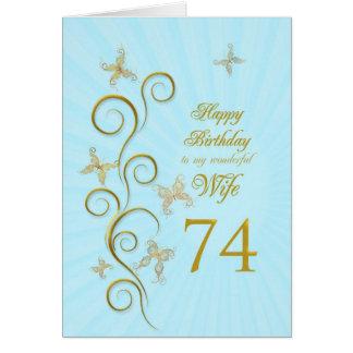 74.o cumpleaños de la esposa con las mariposas de tarjeta de felicitación
