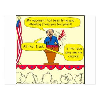 751 me dan una oportunidad dibujo animado político postal