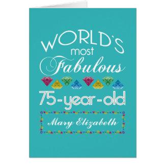 75.o Cumpleaños la mayoría de la turquesa colorida Tarjeta De Felicitación
